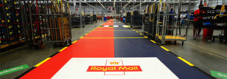 Ecotile in royal mail industrial floor