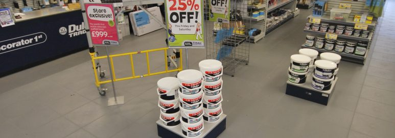 Ecotile shop flooring used by Delux Decorator Centre
