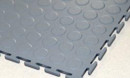 Ecotile 7mm floor tile Dark Grey Raised Disk