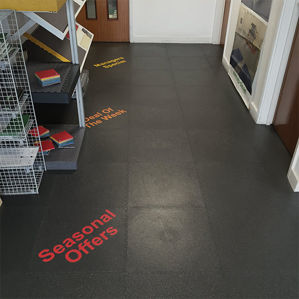 Industrial flooring dark tiles